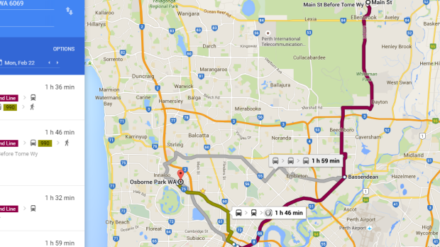 Getting from Ellenbrook to an Osborne Park office involves travelling in a 'horseshoe', with journey times of up to one ...
