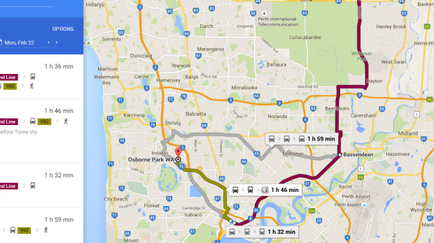 Getting from Ellenbrook to an Osborne Park office involved travelling in a 'horseshoe.'