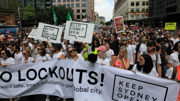 """Thousands of protesters gathered at the """"Keep Sydney Open"""" rally to protest against the recently renewed lockout laws."""