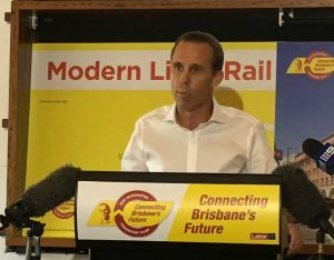 Labor lord mayoral candidate Rod Harding announcing details of his $1.2 billion light rail proposal on Sunday.