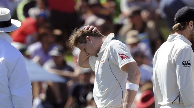 Ouch: Steve Smith holds his head after being hit on the helmet by a ball from New Zealand's Neil Wagner on the second ...