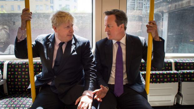Heading different ways: Boris Johnson (left) backs a Brexit, while PM David Cameron wants the UK to remain in the EU.