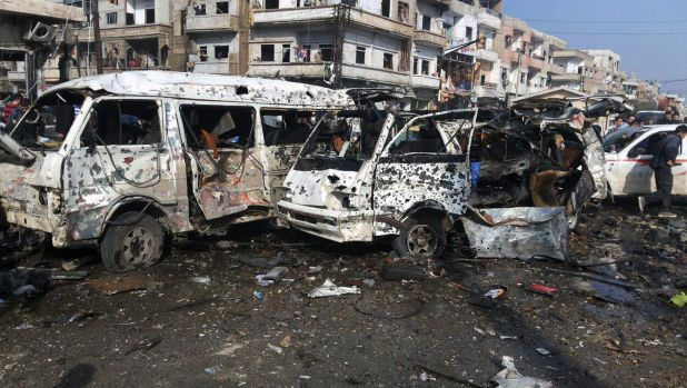 A photo, released by Syria's official news agency SANA on Sunday, reportedly shows the aftermath of two blasts in the ...