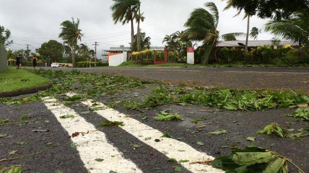 Debris left by Cyclone Winston lies on the roads in Tamavua, Suva, Fiji.