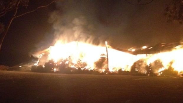 Fire engulfed the hay shed about 8pm on Sunday.