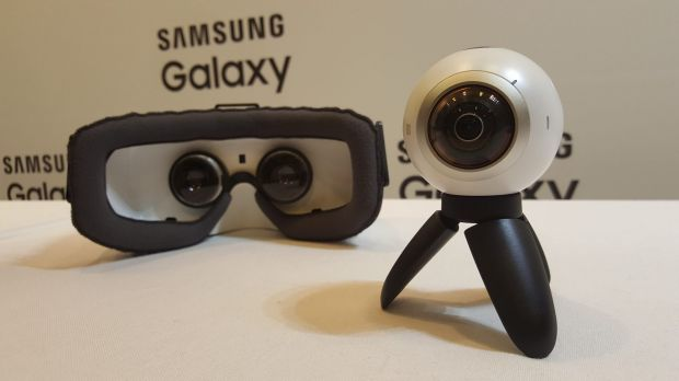 Samsung's Gear VR headset alongside the newly-unveiled Gear 360 camera.