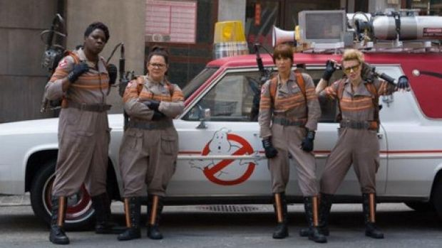 Leslie Jones, Melissa McCarthy, Kristen Wiig and Kate McKinnon in <i>Ghostbusters</i>, due out in July 2016.