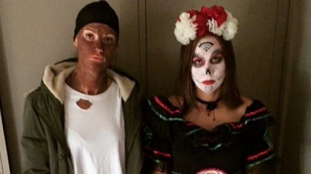 Australian Opals player Alice Kunek (left) pictured wearing ''blackface''.