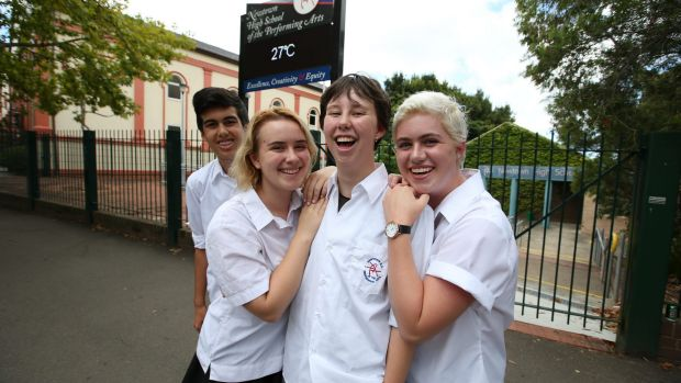 Jo Dwyer with friends outside Newtown High School of Performing Arts.