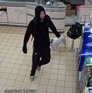 A man who was twice caught on CCTV stealing from the Kippax Aldi store brought his dog with him each time.