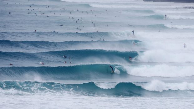 Surfers were enjoying big waves at Snapper Rocks.