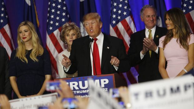 Donald Trump with his family at a South Carolina primary night rally on Saturday.