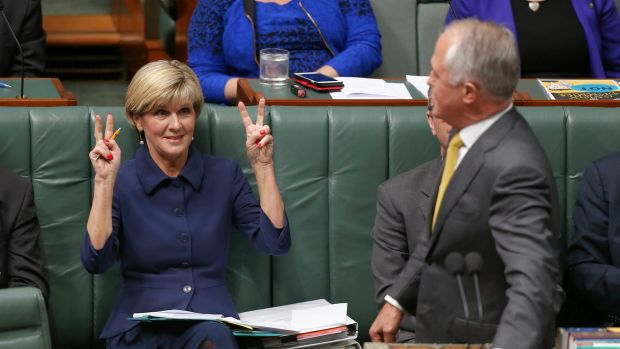 Foreign Affairs Minister Julie Bishop and Prime Minister Malcolm Turnbull during question time on Monday.