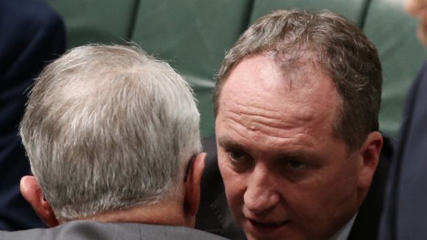 Prime Minister Malcolm Turnbull and Deputy Prime Minister Barnaby Joyce during question time on Monday.