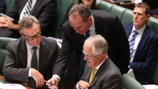 Prime Minister Malcolm Turnbull with Deputy Prime Minister Barnaby Joyce and Innovation Minister Christopher Pyne during ...
