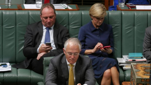 Deputy Prime Minister Barnaby Joyce, Prime Minister Malcolm Turnbull and Foreign Affairs Minister Julie Bishop during ...