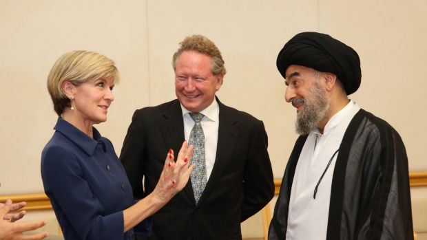 Foreign Affairs Minister Julie Bishop with Grand Ayatollah Sayyid Mohammad Taqi al-Modarresi from Iraq and anti-slavery ...