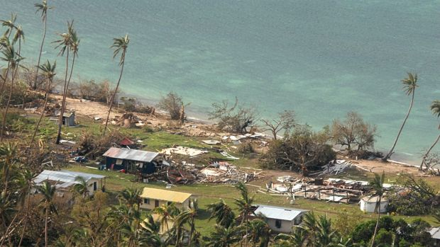 Damaged buildings at Susui village in Fiji.