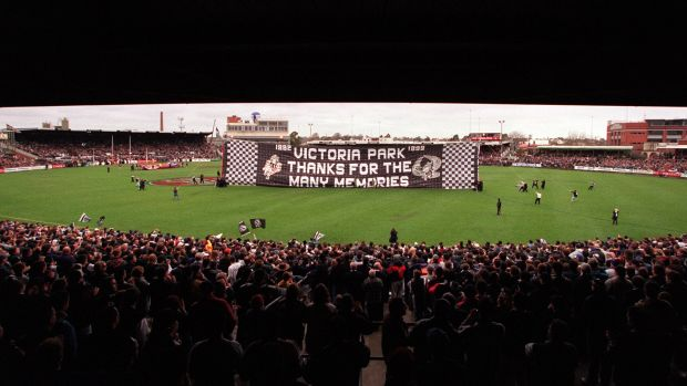 Fond farewell: Collingwood's final game at Victoria Park, against the Brisbane Lions.