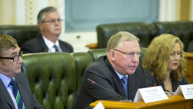 Jeff Seeney speaking at budget estimates hearings in Brisbane.