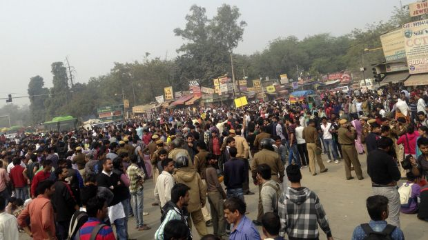 Fighting for jobs ... Protesters of the Jat agricultural community block a road near the Delhi University area in New ...