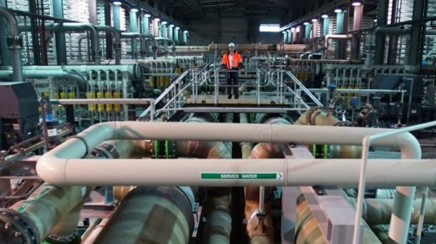 Inside the desalination plant, which will soon produce its first water order for Melbourne.
