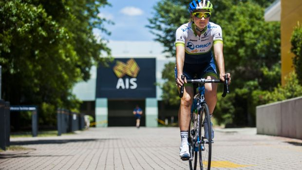 Wheels turning: cyclist  Gracie Elvin at the AIS in December.