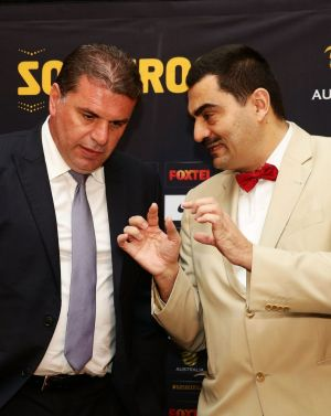 Socceroos coach Ange Postecoglou, left, with the Consul General of Greece, Stavros Kyrimis.
