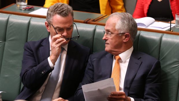 Prime Minister Malcolm Turnbull and Innovation Minister Christopher Pyne during question time on Tuesday.