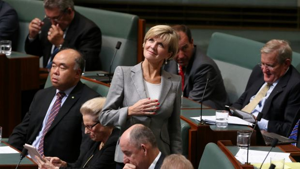Foreign Affairs Minister Julie Bishop speaks to backbench MPs during question time on Tuesday.