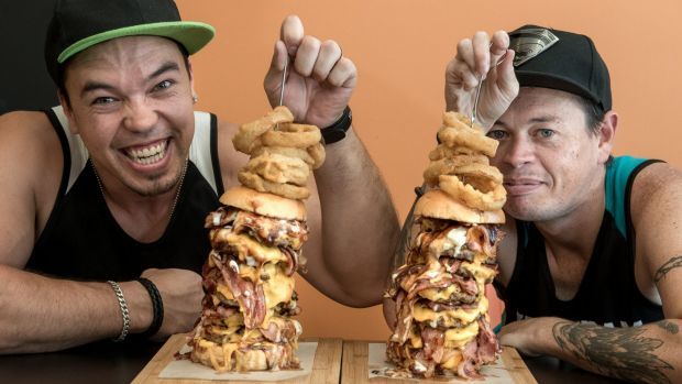 Riley Murphy AKA Chompamatic and Cal Stubbs AKA HulkSmashFood at Burgled in Carrum Downs They are pros at eating ...