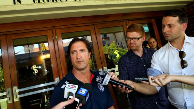 Learning curve: Western Bulldogs coach Luke Beveridge speaks to the media on Tuesday.
