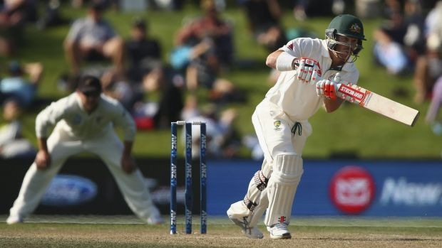 Targeted: David Warner bats during the Test between New Zealand and Australia at Hagley Oval in Christchurch.