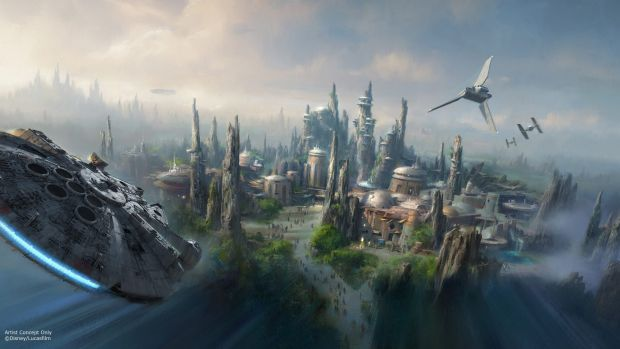An official Disney artist's impression of one of the Star Wars-themed Lands coming to Disney Parks.