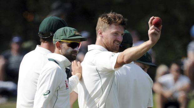 Match turner: Australia's Jackson Bird holds up the ball after his first five-wicket bag in Test cricket.