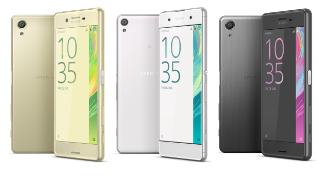 Sony's new Xperia X (left) alongside lower- and higher-powered versions (the XA and X Performance). Each phone comes in ...