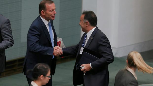 Former prime minister Tony Abbott and Andrew Nikolic in Parliament last year.