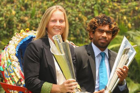 Australia's Meg Lanning and Sri Lanka's Lasith Malinga with the World T20 trophies after the 2014 finals.