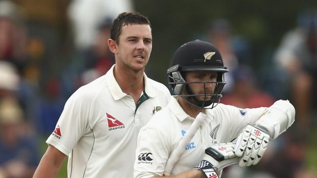 Cool customer: the usually unflappable Josh Hazlewood made his feelings known on the field.