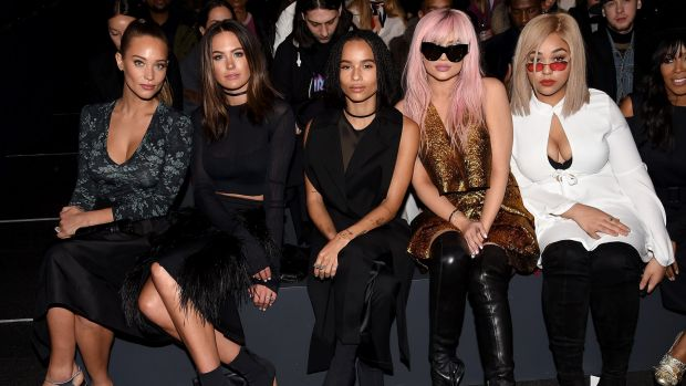 Jesinta Campbell has an excuse for being snubbed by Kylie Jenner at NYFW. From left: Hannah Davis, Campbell, Zoe ...