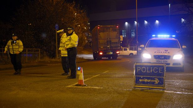 """A police cordon on Purchase Road in Didcot, where a """"major incident"""" was declared after the building collapse."""