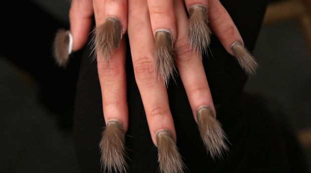 The furry nail manicure trend is in, apparently.