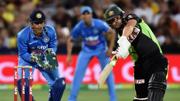 Aaron Finch of Australia bats during game one of the Twenty20 International match between Australia and India at ...