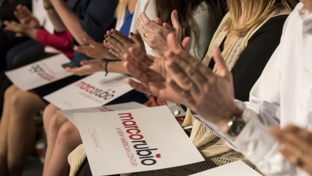 Supporters of Marco Rubio applaud during a campaign rally in Las Vegas.