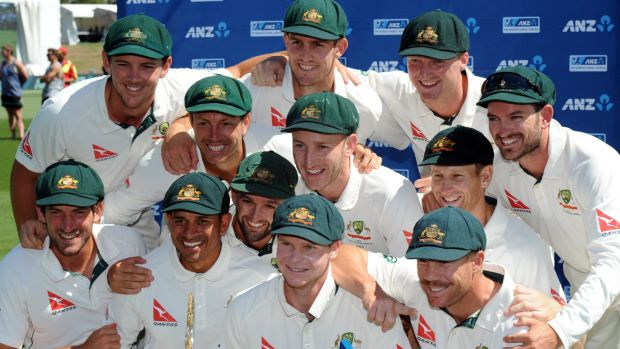 Australia's Test team celebrate their win over New Zealand in Christchurch during the 2016 tour.
