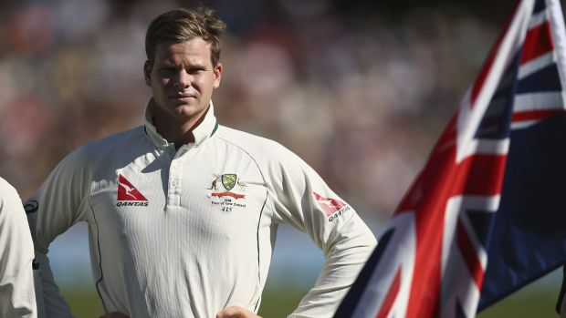 Steve Smith looks on during the anthems during day one of the Test match between New Zealand and Australia at Hagley Oval.