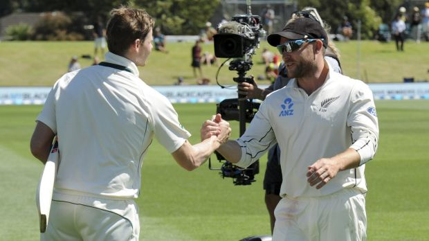 Australia's Steve Smith shakes hands with Brendon McCullum after the game.