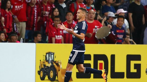 Jai Ingham of Melbourne Victory celebrates after scoring a goal.