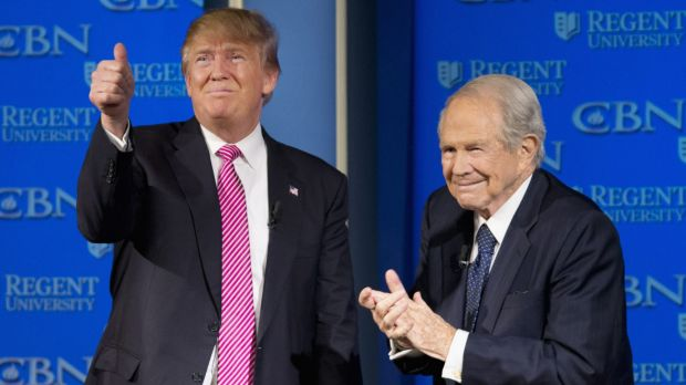 """Nobody reads the Bible more than me"": Donald Trump with Reverend Pat Robertson - getting support from evangelicals."