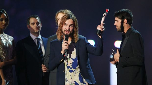 Kevin Parker accepts the International Group award on behalf of Tame Impala at the BRIT Awards 2016 at The O2 Arena on ...
